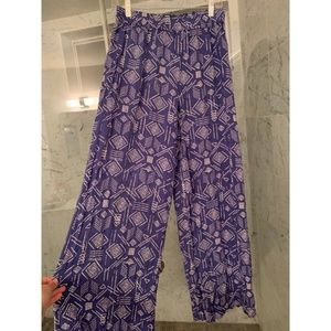 Blue and White Printed Palazzo Pants